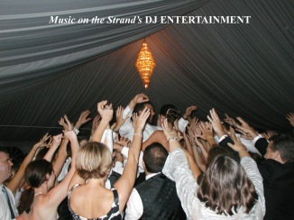 "Under a tent in Myrtle Beach, the DJ plays ""Sweet Caroline"" and the guests gather around the bride and groom and act out the lyrics."